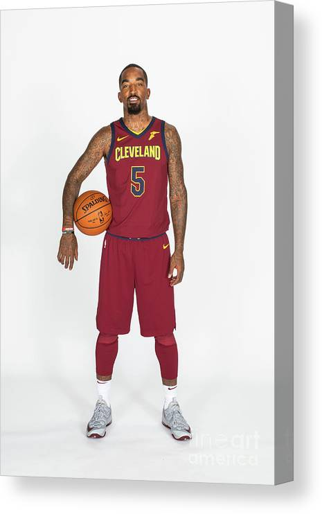 Media Day Canvas Print featuring the photograph J.r. Smith by Michael J. Lebrecht Ii