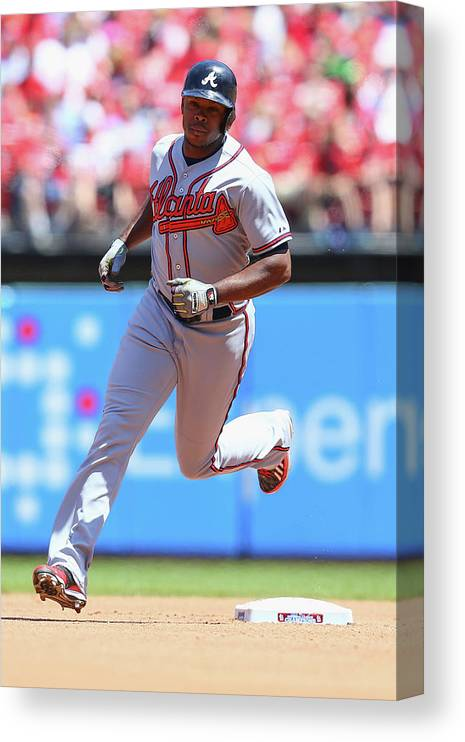 Individual Event Canvas Print featuring the photograph Justin Upton by Dilip Vishwanat