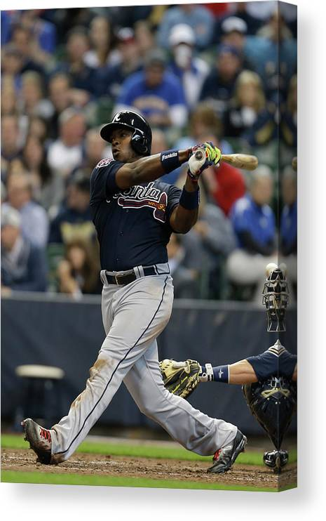 Home Base Canvas Print featuring the photograph Justin Upton by Mike Mcginnis