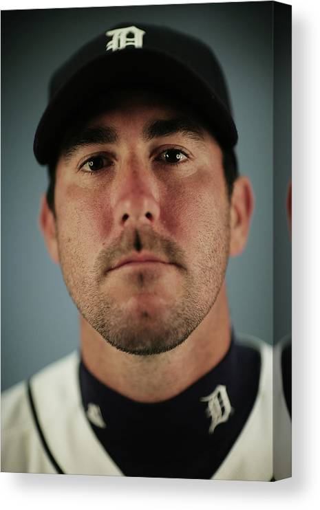 Media Day Canvas Print featuring the photograph Justin Verlander by Nick Laham