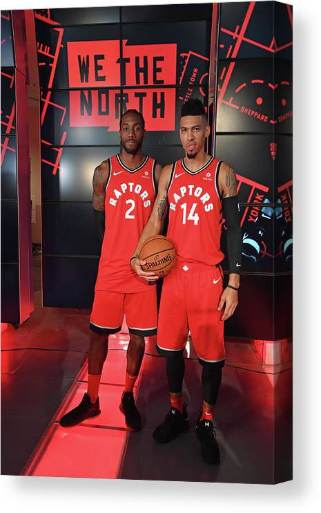 Media Day Canvas Print featuring the photograph Kawhi Leonard and Danny Green by Ron Turenne