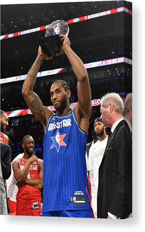 Nba Pro Basketball Canvas Print featuring the photograph Kawhi Leonard and Kobe Bryant by Jesse D. Garrabrant