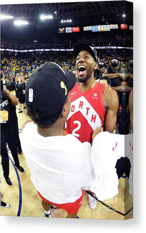 Playoffs Canvas Print featuring the photograph Kawhi Leonard and Kyle Lowry by Andrew D. Bernstein