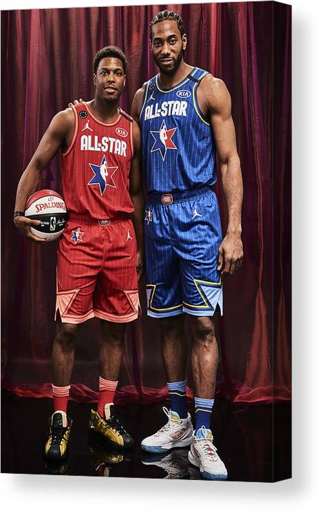 Nba Pro Basketball Canvas Print featuring the photograph Kawhi Leonard and Kyle Lowry by Jennifer Pottheiser