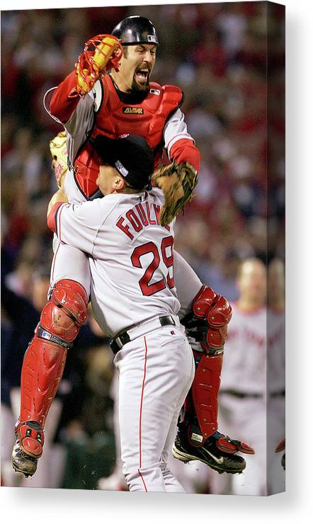 Celebration Canvas Print featuring the photograph Keith Foulke and Jason Varitek by Jed Jacobsohn