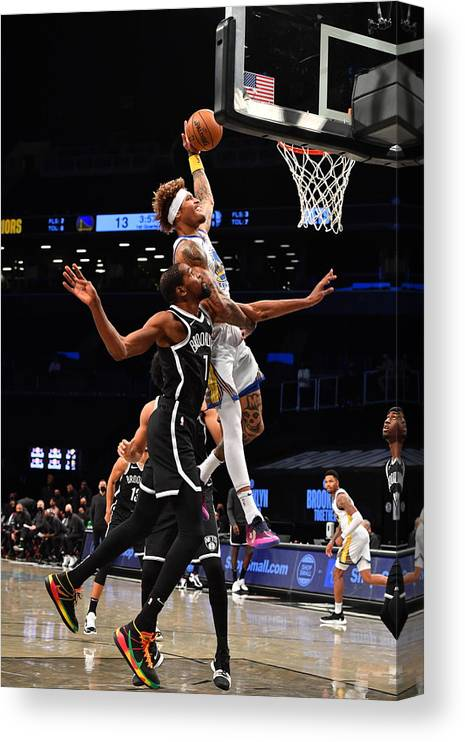Nba Pro Basketball Canvas Print featuring the photograph Kelly Oubre and Kevin Durant by Jesse D. Garrabrant