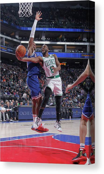Kemba Walker Canvas Print featuring the photograph Kemba Walker and Buddy Hield by Rocky Widner