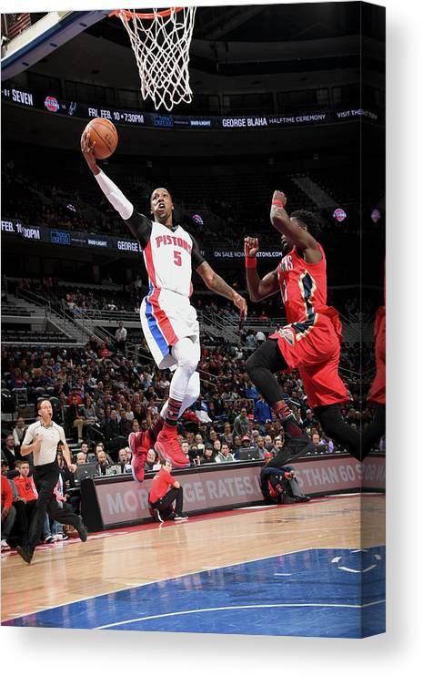 Nba Pro Basketball Canvas Print featuring the photograph Kentavious Caldwell-pope by Chris Schwegler