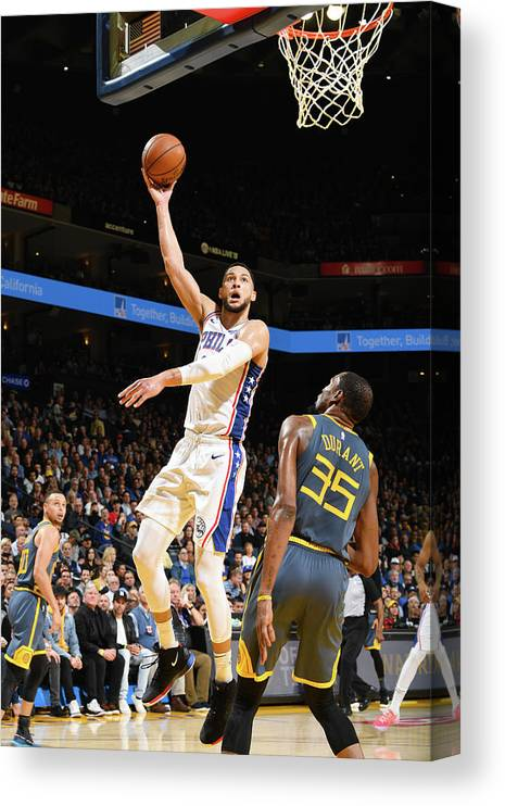 Nba Pro Basketball Canvas Print featuring the photograph Kevin Durant and Ben Simmons by Noah Graham