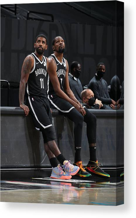 Nba Pro Basketball Canvas Print featuring the photograph Kevin Durant and Kyrie Irving by Nathaniel S. Butler