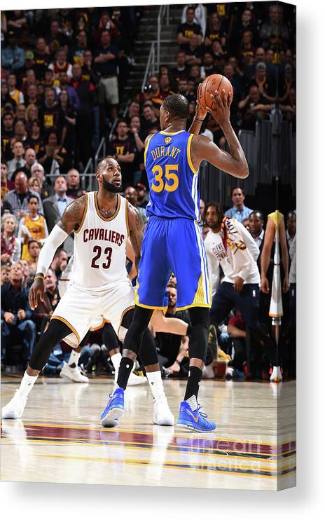 Playoffs Canvas Print featuring the photograph Kevin Durant and Lebron James by Andrew D. Bernstein