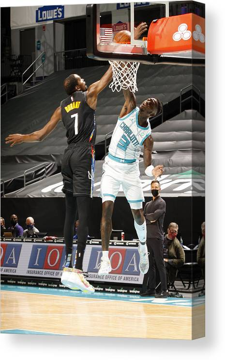 Nba Pro Basketball Canvas Print featuring the photograph Kevin Durant and Terry Rozier by Kent Smith