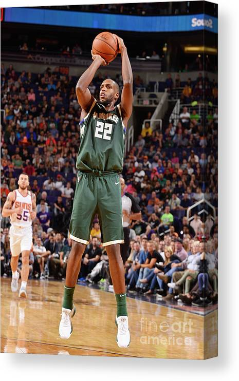 Nba Pro Basketball Canvas Print featuring the photograph Khris Middleton by Barry Gossage