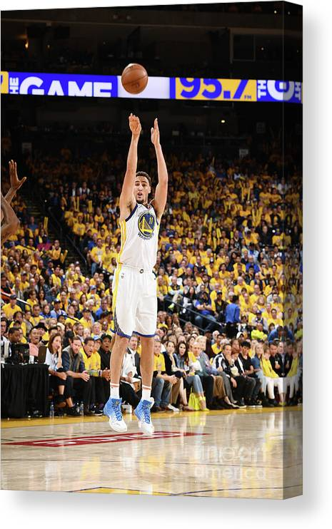 Playoffs Canvas Print featuring the photograph Klay Thompson by Garrett Ellwood
