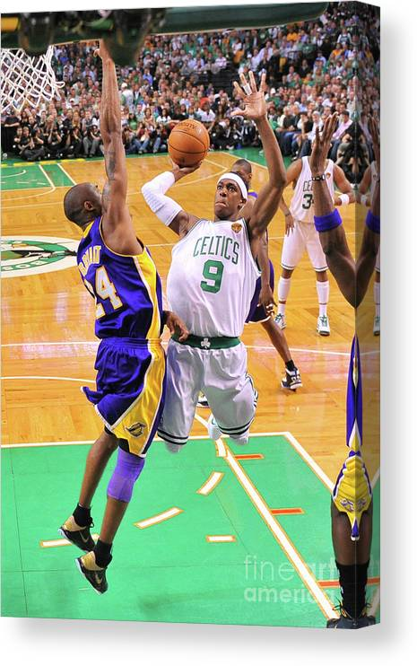 Playoffs Canvas Print featuring the photograph Kobe Bryant and Rajon Rondo by Brian Babineau