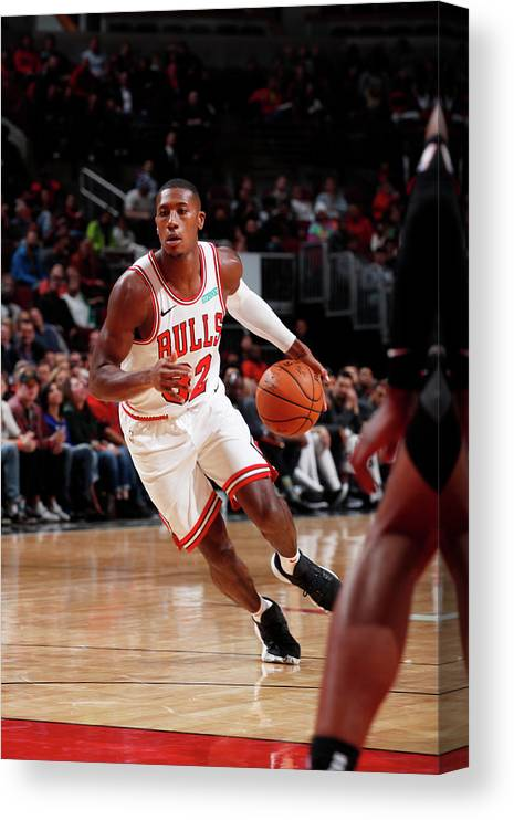 Chicago Bulls Canvas Print featuring the photograph Kris Dunn by Jeff Haynes