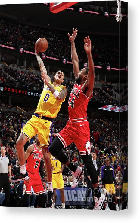 Nba Pro Basketball Canvas Print featuring the photograph Kyle Kuzma by Nathaniel S. Butler