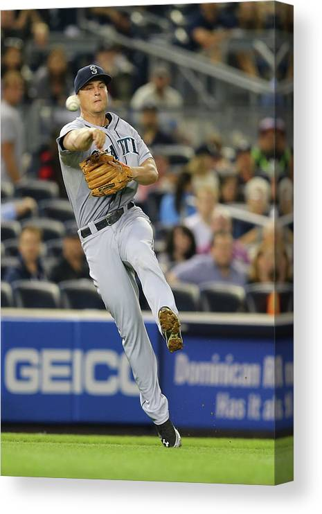 American League Baseball Canvas Print featuring the photograph Kyle Seager by Al Bello