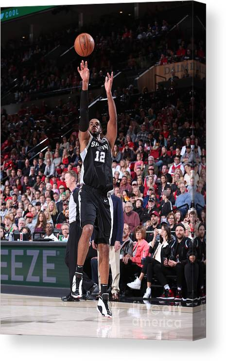 Nba Pro Basketball Canvas Print featuring the photograph Lamarcus Aldridge and Jakob Poeltl by Sam Forencich