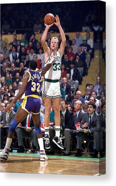 1980-1989 Canvas Print featuring the photograph Larry Bird and Magic Johnson by Andrew D. Bernstein