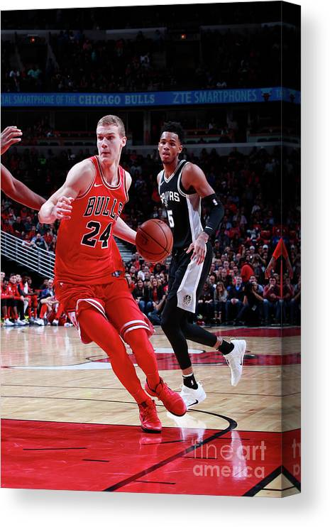 Chicago Bulls Canvas Print featuring the photograph Lauri Markkanen by Jeff Haynes