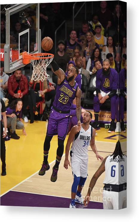 Nba Pro Basketball Canvas Print featuring the photograph Lebron James by Adam Pantozzi