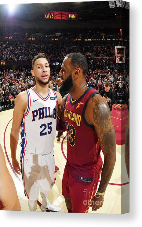 Nba Pro Basketball Canvas Print featuring the photograph Lebron James and Ben Simmons by Jesse D. Garrabrant