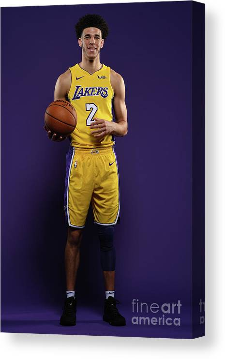 Media Day Canvas Print featuring the photograph Lonzo Ball by Aaron Poole