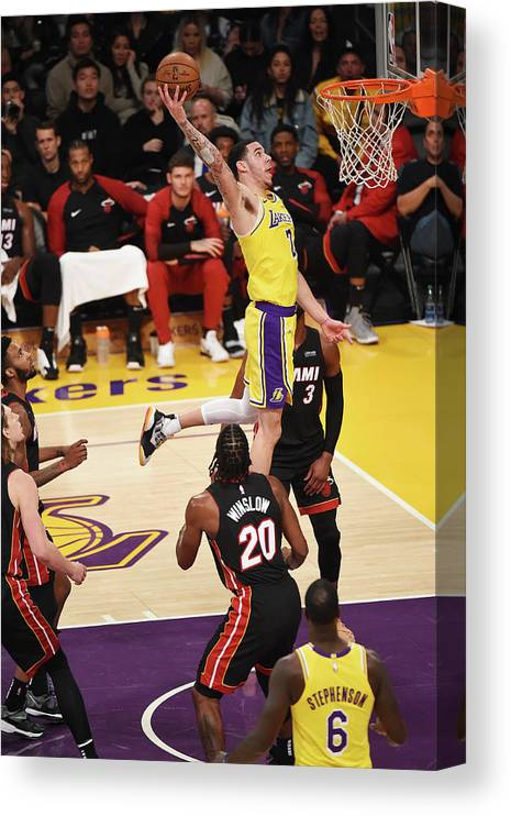 Nba Pro Basketball Canvas Print featuring the photograph Lonzo Ball by Adam Pantozzi