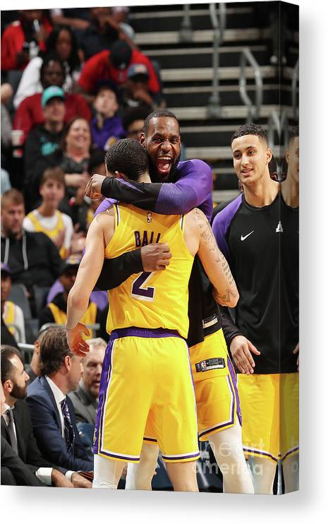 Nba Pro Basketball Canvas Print featuring the photograph Lonzo Ball and Lebron James by Kent Smith