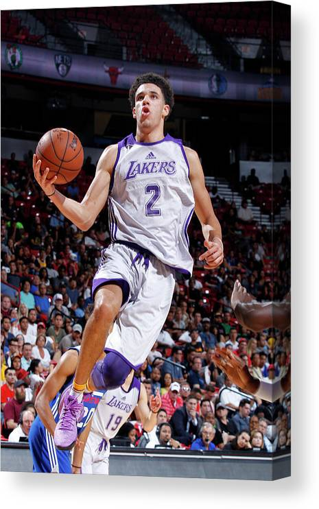Nba Pro Basketball Canvas Print featuring the photograph Lonzo Ball by Jack Arent