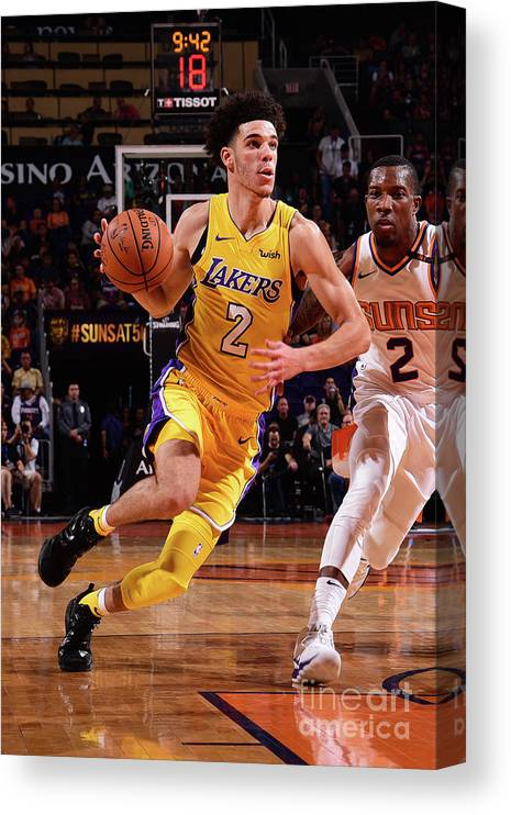 Nba Pro Basketball Canvas Print featuring the photograph Lonzo Ball by Michael Gonzales