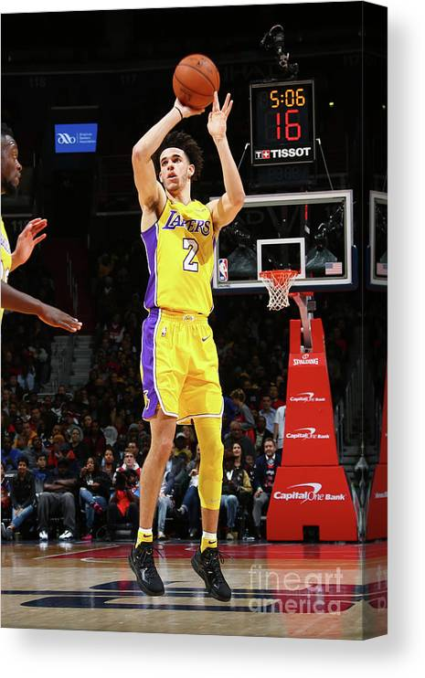 Nba Pro Basketball Canvas Print featuring the photograph Lonzo Ball by Ned Dishman
