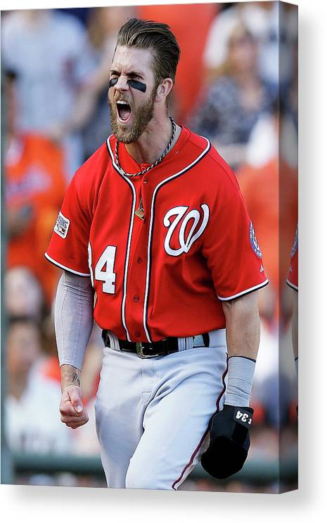 San Francisco Canvas Print featuring the photograph Madison Bumgarner and Bryce Harper by Ezra Shaw
