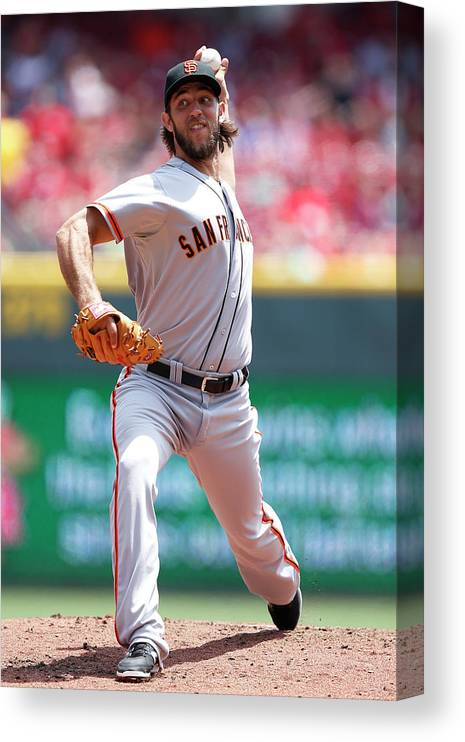 Great American Ball Park Canvas Print featuring the photograph Madison Bumgarner by Joe Robbins