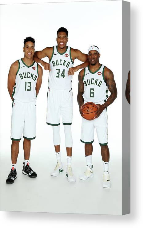 Media Day Canvas Print featuring the photograph Malcolm Brogdon, Giannis Antetokounmpo, and Eric Bledsoe by Gary Dineen