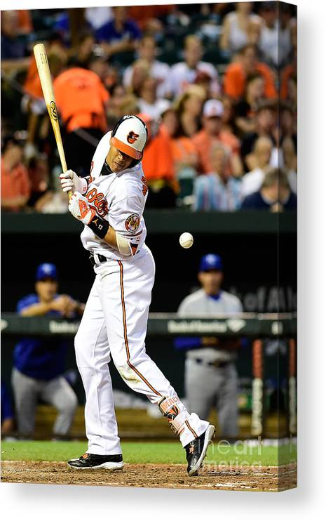 People Canvas Print featuring the photograph Manny Machado and Yordano Ventura by Patrick Mcdermott
