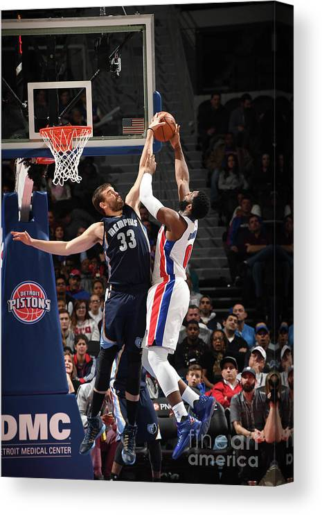 Nba Pro Basketball Canvas Print featuring the photograph Marc Gasol and Andre Drummond by Chris Schwegler