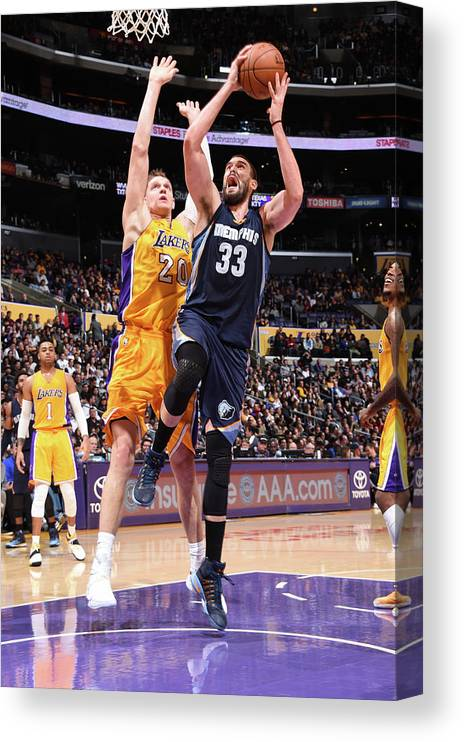 Nba Pro Basketball Canvas Print featuring the photograph Marc Gasol by Andrew D. Bernstein