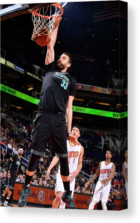 Nba Pro Basketball Canvas Print featuring the photograph Marc Gasol by Barry Gossage
