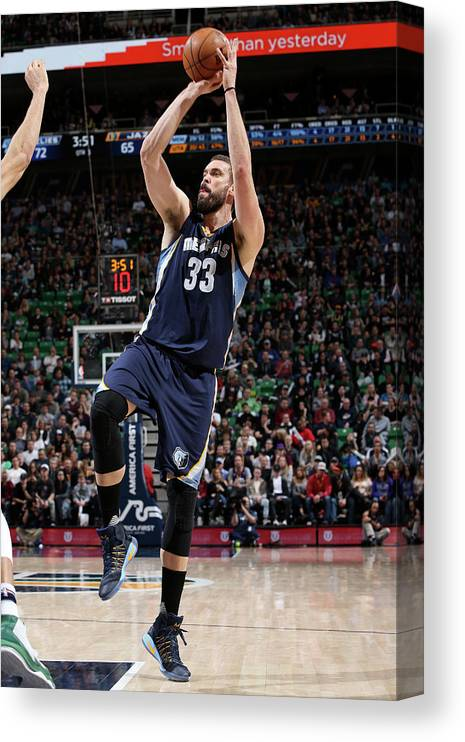Nba Pro Basketball Canvas Print featuring the photograph Marc Gasol by Melissa Majchrzak