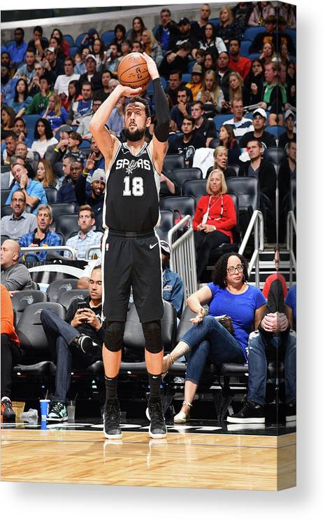 Nba Pro Basketball Canvas Print featuring the photograph Marco Belinelli by Gary Bassing