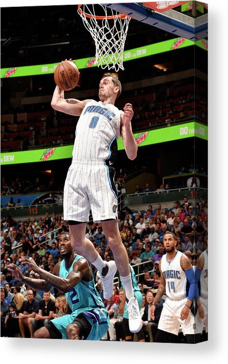 Nba Pro Basketball Canvas Print featuring the photograph Mario Hezonja by Gary Bassing