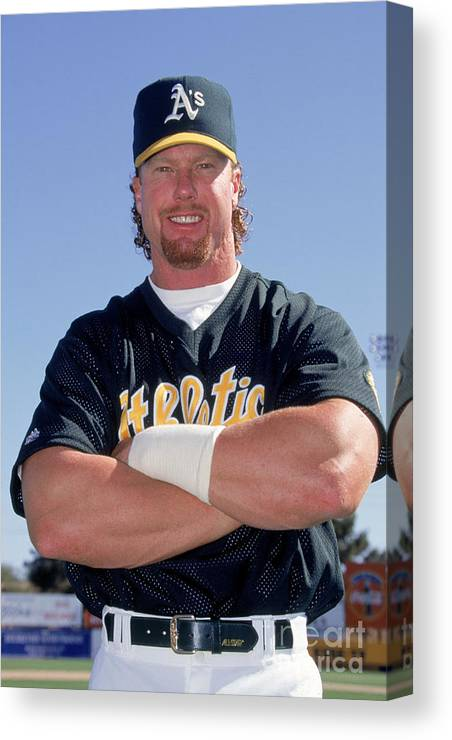 1980-1989 Canvas Print featuring the photograph Mark Mcgwire by Don Smith
