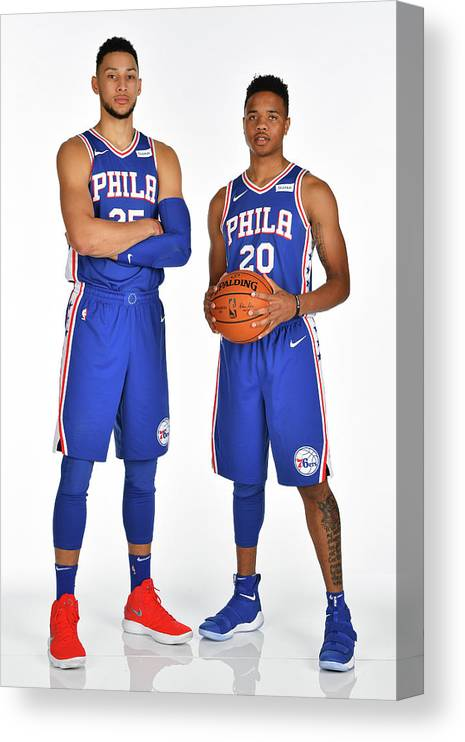 Media Day Canvas Print featuring the photograph Markelle Fultz and Ben Simmons by Jesse D. Garrabrant