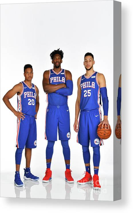 Media Day Canvas Print featuring the photograph Markelle Fultz, Ben Simmons, and Joel Embiid by Jesse D. Garrabrant