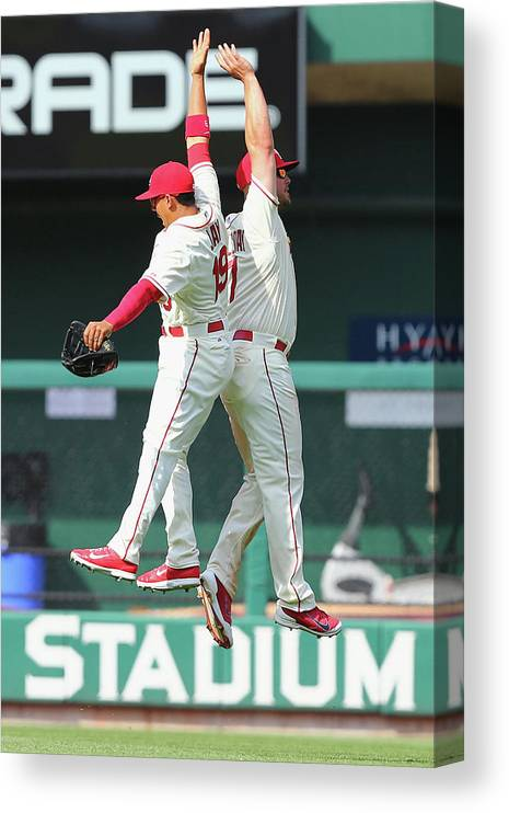 St. Louis Cardinals Canvas Print featuring the photograph Matt Holliday and Jon Jay by Dilip Vishwanat