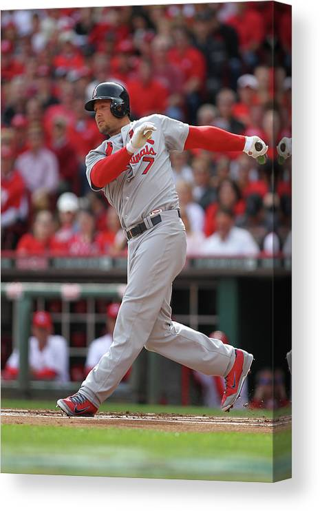 Great American Ball Park Canvas Print featuring the photograph Matt Holliday by John Grieshop