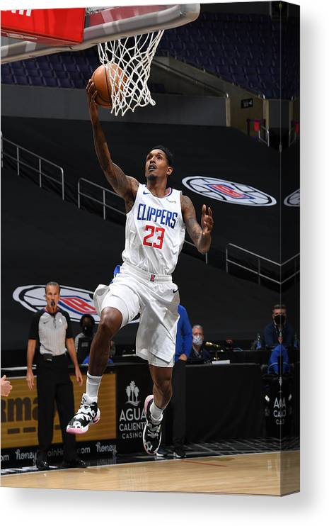 Nba Pro Basketball Canvas Print featuring the photograph Miami Heat v Los Angeles Clippers by Adam Pantozzi
