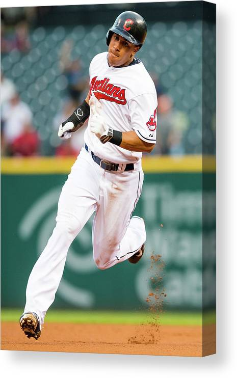 People Canvas Print featuring the photograph Michael Brantley And David Murphy by Jason Miller